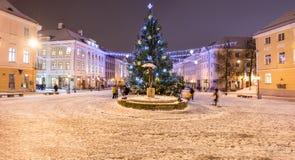 Julgran i gammal stad av Tartu, Estland arkivbild
