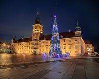 Julgran i gammal Warszawa Arkivbild