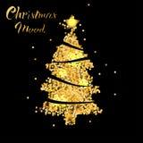 Julgran i guld- textur med stjärnan stock illustrationer