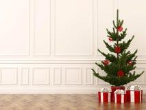 Julgran i interior arkivbild