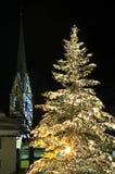 Julgran i Ischgl Arkivbild