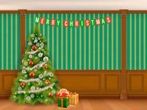 Julgran i kabinett med träpaneler Fotografering för Bildbyråer