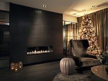 Julgran i livingroom med spisen Arkivfoto