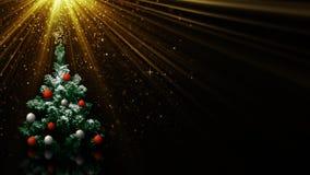 Julgran i ljusa strålar Royaltyfri Bild