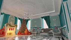 Julgran i modernt hem Fotografering för Bildbyråer