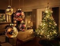 Julgran i modernt vardagsrum Fotografering för Bildbyråer