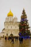 Julgran i MoskvaKreml Ärkeängeldomkyrka Royaltyfria Bilder