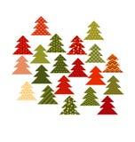 Julgran i patchworkstil Vektor för modell för granträd Royaltyfri Bild