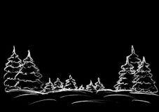 Julgran i snön på en svart bakgrund Royaltyfri Bild