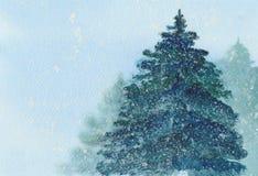 Julgran i snövattenfärgillustration Arkivbilder