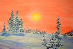 Julgran i snowen Arkivbild