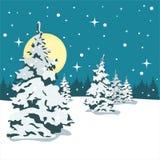 Julgran i snowen Natten och månen Royaltyfria Foton