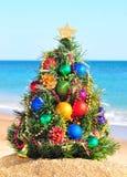 Julgran i stranden Arkivfoto