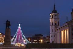 Julgran i Vilnius royaltyfri bild