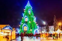 Julgran i Vilnius Litauen 2015 Royaltyfri Bild