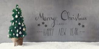 Julgran, kalligrafi, glad jul och lyckligt nytt år Royaltyfri Foto