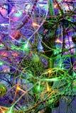 Julgran mångfärgade ljusa ljus för abstrakt begrepp på ferie Arkivbilder