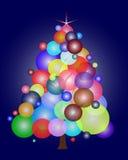 Julgran med ballonger Arkivbilder