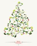 Julgran med blom- bakgrund stock illustrationer