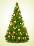 Julgran med bollar och bows Arkivfoto