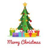 Julgran med bollar, stjärna, snö, gåvaaskar Design för glad jul och för lyckligt nytt år Ljust Xmas-träd i plan stilisola stock illustrationer