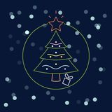 Julgran med bollen, girland som isoleras på mörk bakgrund Glad xmas, begrepp för lyckligt nytt år Design för vektortecknad filmne stock illustrationer