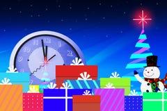 Julgran med den ljusa ljusa stjärnan på midnatt tid royaltyfri illustrationer