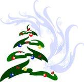 Julgran med färgrika bollar Illustration för vektor EPS10 Arkivfoto