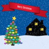 Julgran med färgrika leksaker stock illustrationer