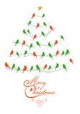 Julgran med fåglar, vektor Arkivbild
