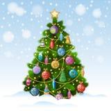 Julgran med färgrika prydnader, vektorillustration Royaltyfri Foto