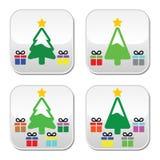 Julgran med gåvaknappuppsättningen Fotografering för Bildbyråer