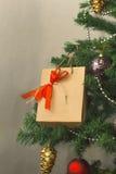 Julgran med gåvan Arkivfoto