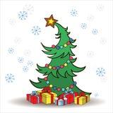 Julgran med gåvor Arkivbild