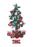 Julgran med gåvor, frihandsteckning Royaltyfri Illustrationer
