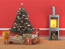 Julgran med gåvor på rött rum med spisen Arkivfoto