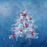Julgran med garneringar: bollar, band, stjärnor och abstrakt begreppbeståndsdelar royaltyfri illustrationer