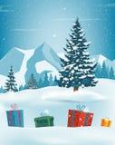 Julgran med garneringar och gåvaaskar bakgrundsfärger semestrar röd yellow Glad jul och lyckligt nytt år vektor arkivbild