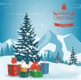 Julgran med garneringar och gåvaaskar bakgrundsfärger semestrar röd yellow Glad jul och lyckligt nytt år vektor royaltyfria bilder