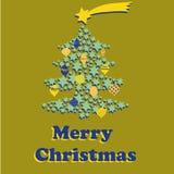 Julgran med guling- och blåttbollar och stjärna ovanför trädet Vektorillustration på guld- bakgrund glad jul vektor illustrationer