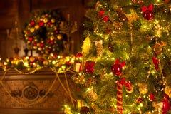 Julgran med härliga belysningar Royaltyfria Foton