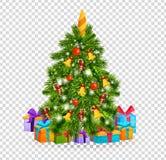 Julgran med härliga bollar, garneringar julgåvatree under royaltyfri illustrationer