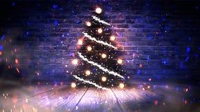 Julgran med ljus på trägolvet, ljus, ljus, ljus, ilsken blick, rök royaltyfri illustrationer