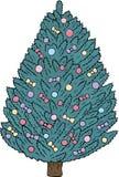 Julgran med mångfärgade bollar och pilbågar på en vit bakgrund stock illustrationer