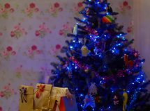 Julgran med närvarande askar inom hus fotografering för bildbyråer