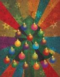 Julgran med prydnadar på strålbakgrund stock illustrationer