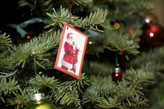 Julgran med Santa Card Royaltyfri Foto