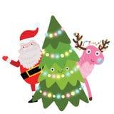 Julgran med Santa Claus och hjortar Arkivbilder