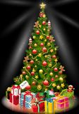 Julgran med slågna in gåvor under den royaltyfri illustrationer