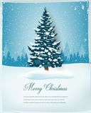 Julgran med snöig vinterlandskap bakgrundsfärger semestrar röd yellow Glad jul och lyckligt nytt år vektor arkivfoto